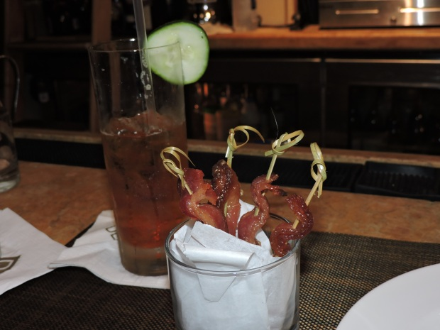 Candied bacon and Pimm's Cup.